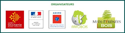 Bandeau des organisateurs - Région Occitanie, Préfecture Occitanie, Ademe et les interprofessions Midi-Pyrénées Bois et Arfobois